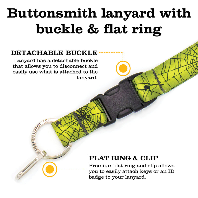 Buttonsmith Spider Web Halloween Custom Lanyard - Made in USA - Buttonsmith Inc.