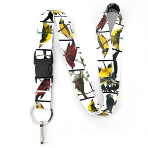 Buttonsmith Audubon Songbirds Premium Lanyard - with Buckle and Flat Ring - Made in the USA