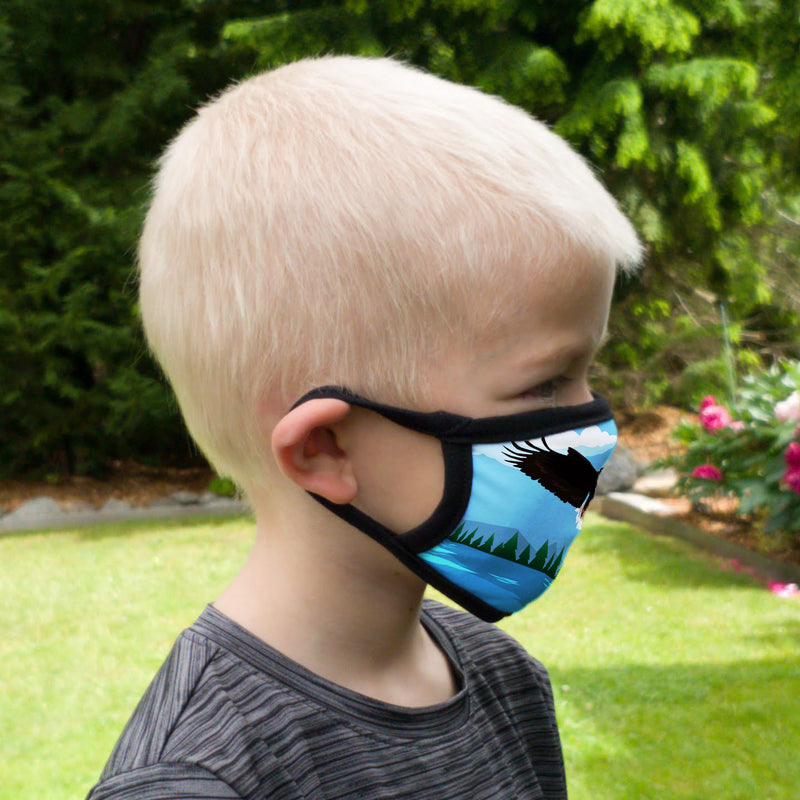 Buttonsmith Eagle Flying Youth Adjustable Face Mask with Filter Pocket - Made in the USA - Buttonsmith Inc.