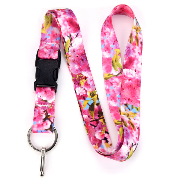 Buttonsmith Cherry Blossoms Photo Lanyard - Made in USA
