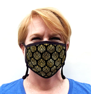 Buttonsmith Damask Youth Adjustable Face Mask with Filter Pocket - Made in the USA