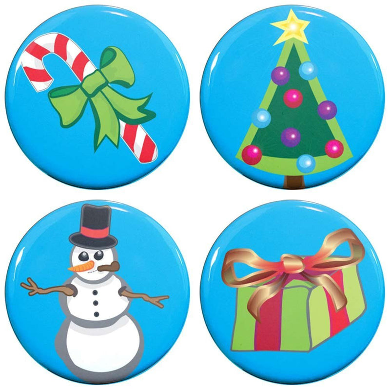 "Buttonsmith® 1.25"" Christmas Refrigerator Magnets - Set of 4 - Buttonsmith Inc."