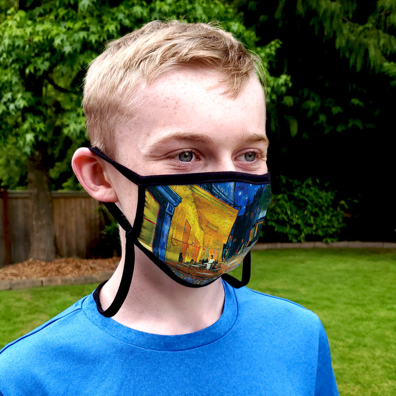 Buttonsmith Van Gogh Cafe Terrace Youth Adjustable Face Mask with Filter Pocket - Made in the USA - Buttonsmith Inc.