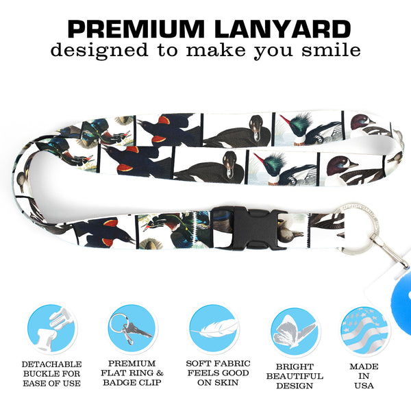 Buttonsmith Audubon Ducks Premium Lanyard - with Buckle and Flat Ring - Made in the USA