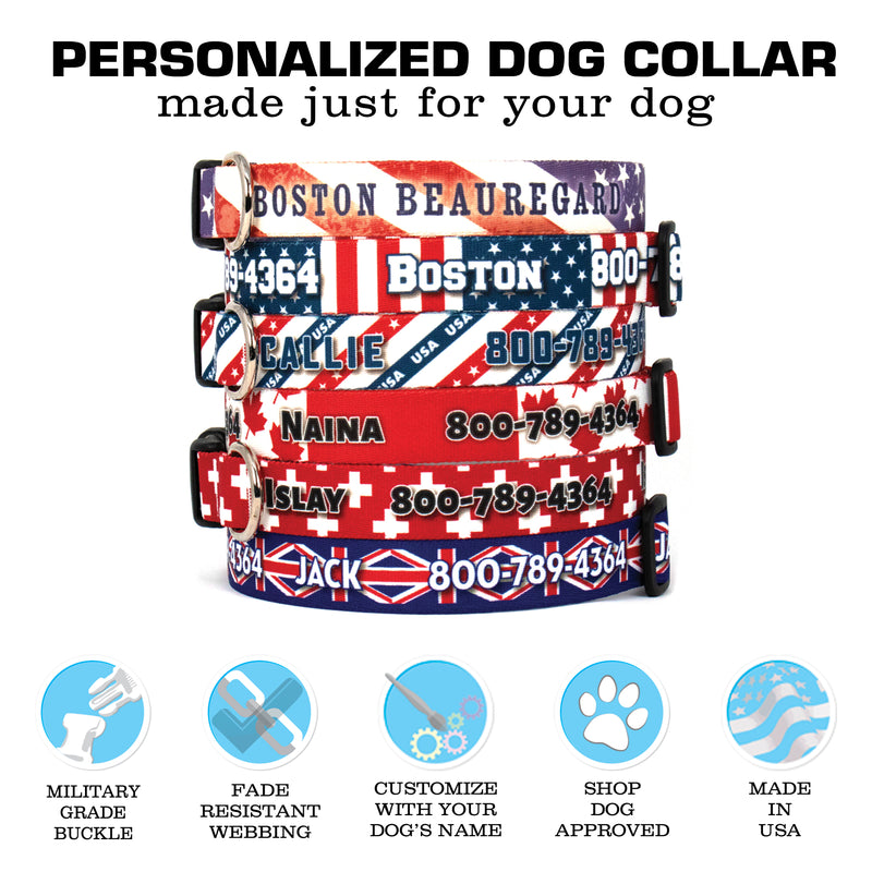 Custom Personalized Dog Collars - Flag Designs - Made in USA - Buttonsmith Inc.
