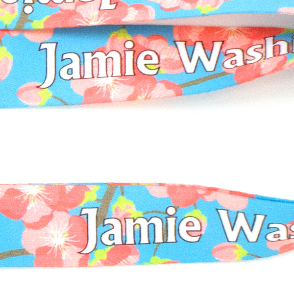 Buttonsmith Cheery Cherry Blossoms Custom Lanyard - Made in USA