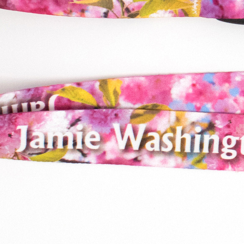 Buttonsmith Cherry Blossoms Photo Custom Lanyard - Made in USA - Buttonsmith Inc.