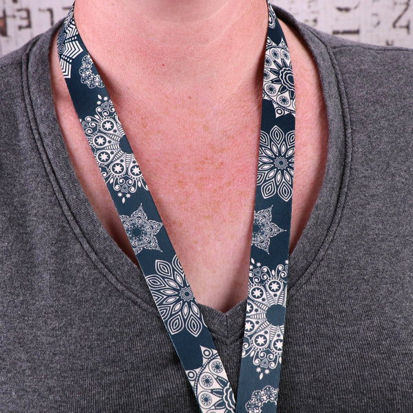 Buttonsmith Denim Lace Custom Lanyard - Made in USA