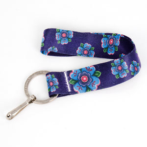 Buttonsmith Blue Rosemaling Wristlet Key Chain Lanyard - Based on Rebecca McGovern Art - Officially Licensed - Made in the USA