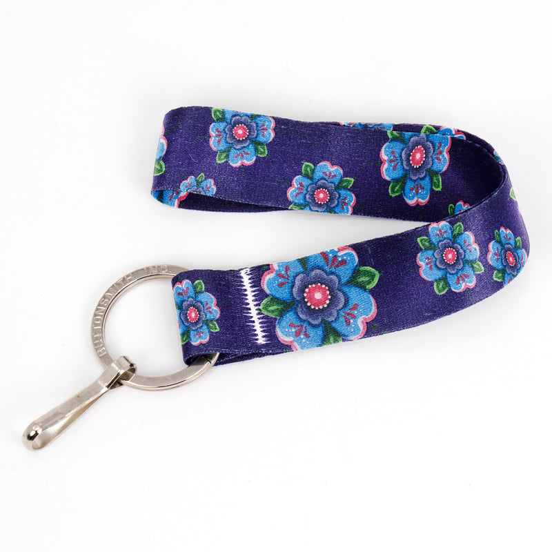 Buttonsmith Blue Rosemaling Wristlet Key Chain Lanyard - Based on Rebecca McGovern Art - Officially Licensed - Made in the USA - Buttonsmith Inc.