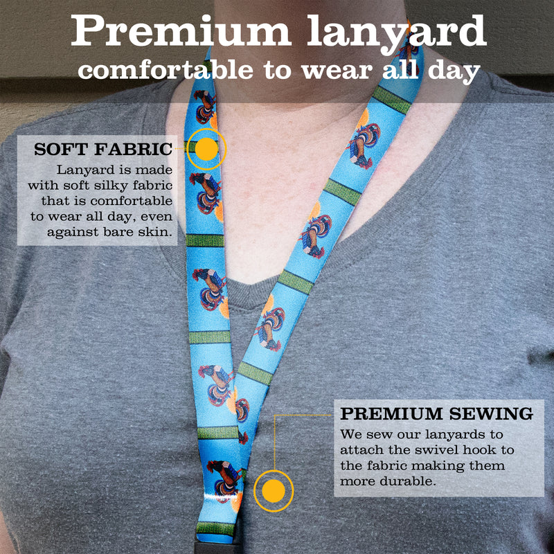 Buttonsmith Rooster Breakaway Lanyard - with Buckle and Flat Ring - Based on Rebecca McGovern Art - Officially Licensed - Made in the USA - Buttonsmith Inc.