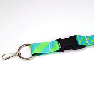 Detachable buckle and premium keyring on Buttonsmith aqua dots lanyard