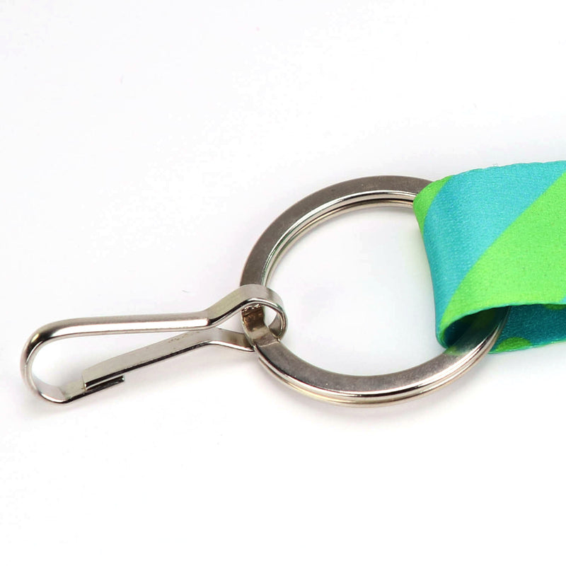 Premium made in the USA flatring on Buttonsmith aqua dots lanyard