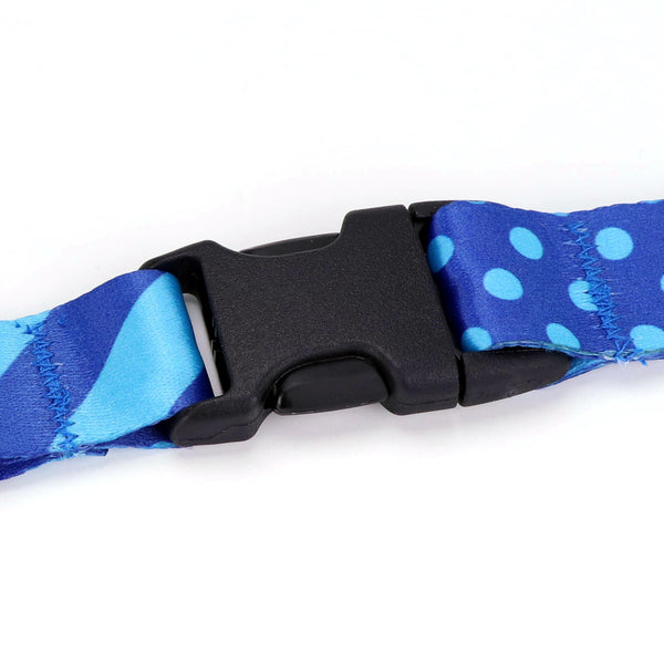 Buttonsmith Blue Dots Custom Lanyard - Made in USA