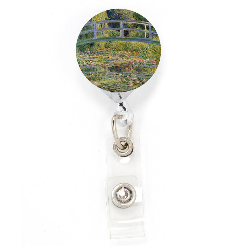 Buttonsmith Monet Green Bridge Tinker Reel Retractable Badge Reel - Made in the USA - Buttonsmith Inc.