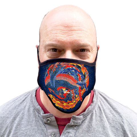 Buttonsmith Hokusai Phoenix Adult XL Adjustable Face Mask with Filter Pocket - Made in the USA