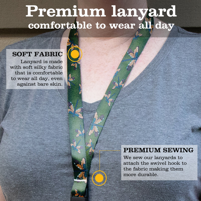 Buttonsmith Dragonflies Premium Lanyard - with Buckle and Flat Ring - Based on Rebecca McGovern Art - Officially Licensed - Made in the USA - Buttonsmith Inc.