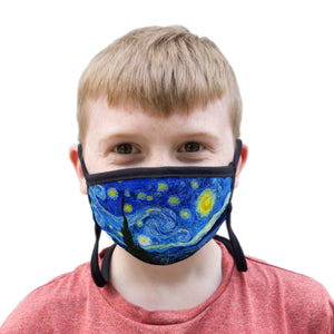 Buttonsmith Van Gogh Starry Night Youth Adjustable Face Mask with Filter Pocket - Made in the USA