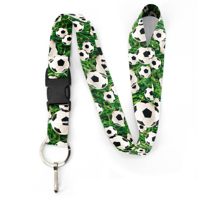 Buttonsmith Soccer Premium Lanyard - with Buckle and Flat Ring - Made in the USA - Buttonsmith Inc.