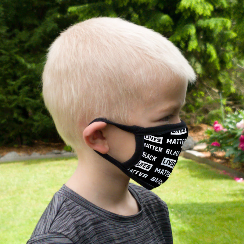 Buttonsmith Black Lives Matter Pattern Youth Adjustable Face Mask with Filter Pocket - Made in the USA - Buttonsmith Inc.