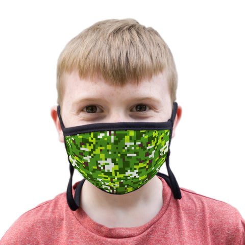Buttonsmith PixelLand Camo Youth Adjustable Face Mask with Filter Pocket - Made in the USA