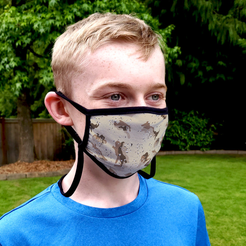 Buttonsmith Desert Camo Child Face Mask with Filter Pocket - Made in the USA - Buttonsmith Inc.