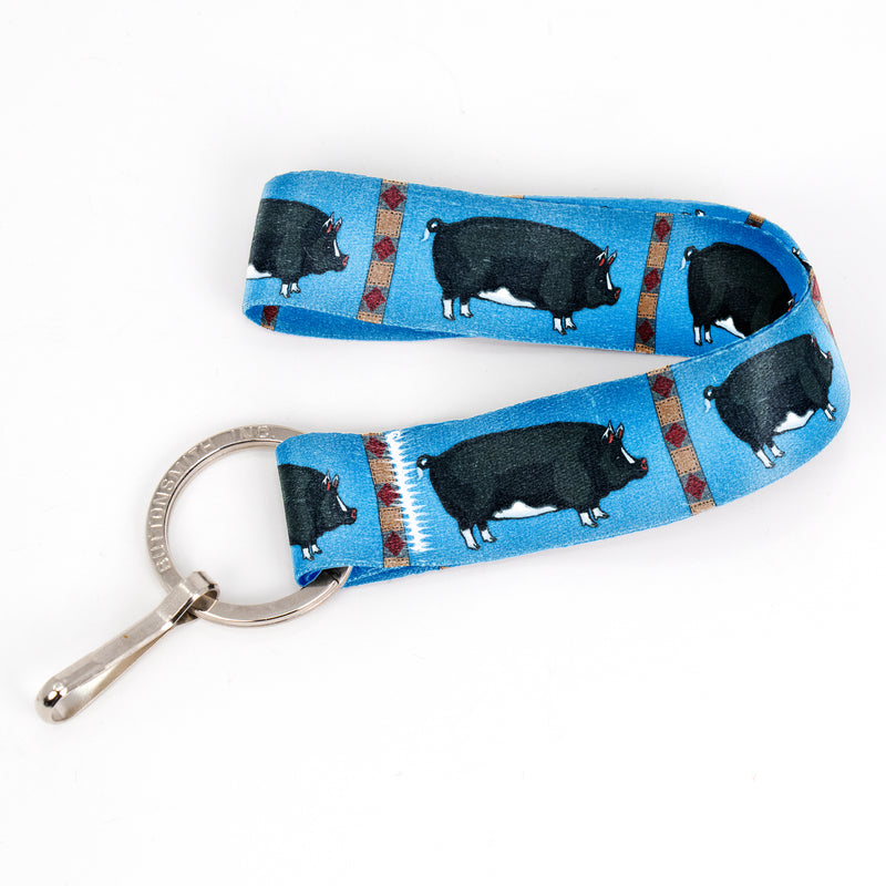 Buttonsmith Pig Wristlet Key Chain Lanyard - Short Length with Flat Key Ring and Clip - Based on Rebecca McGovern Art - Officially Licensed - Made in the USA - Buttonsmith Inc.