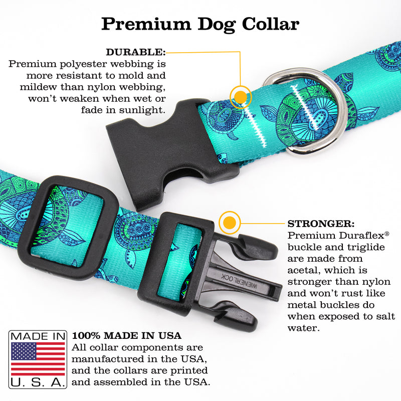 Buttonsmith Turtles Dog Collar - Made in the USA - Buttonsmith Inc.