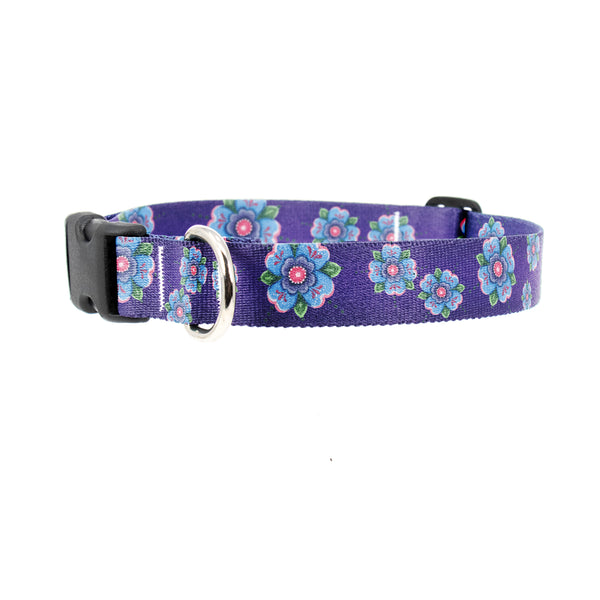 Buttonsmith McGovern Blue Rosemaling Dog Collar - Made in the USA