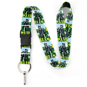 Buttonsmith Grey Horse Premium Lanyard - with Buckle and Flat Ring - Based on Rebecca McGovern Art - Officially Licensed - Made in the USA