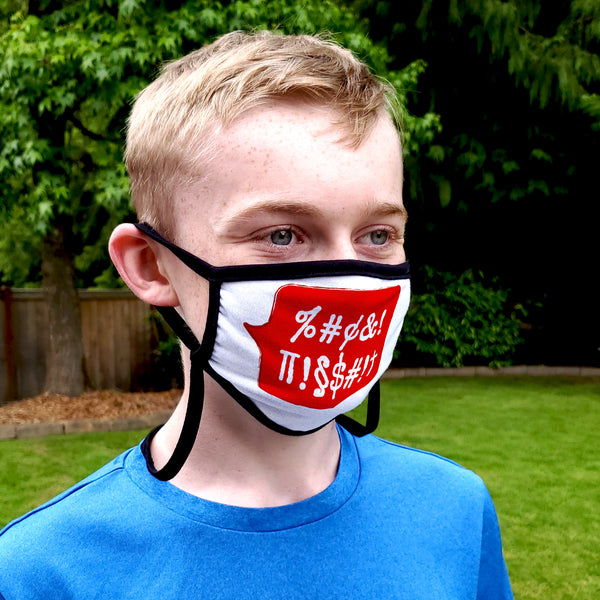 Buttonsmith Swearing Bubble Adult XL Adjustable Face Mask with Filter Pocket - Made in the USA