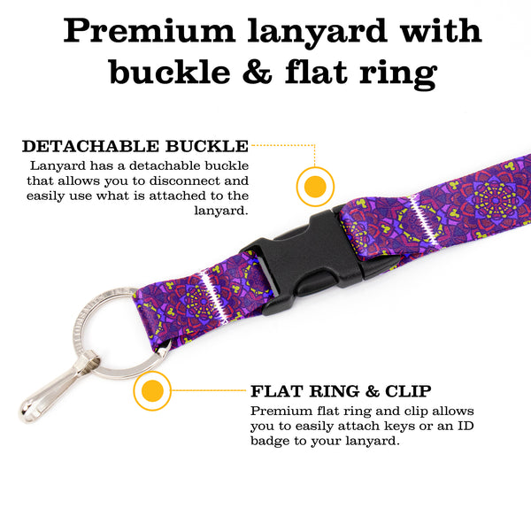 Buttonsmith Purple Moroccan Tiles Premium Lanyard - with Buckle and Flat Ring - Made in the USA