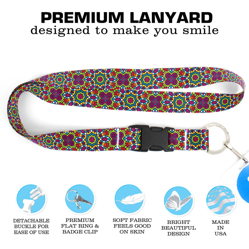 Buttonsmith Multicolored Flowers Premium Lanyard - with Buckle and Flat Ring - Made in the USA - Buttonsmith Inc.
