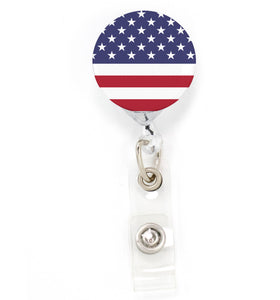 Buttonsmith Flag US Tinker Reel Retractable Badge Reel - Made in the USA