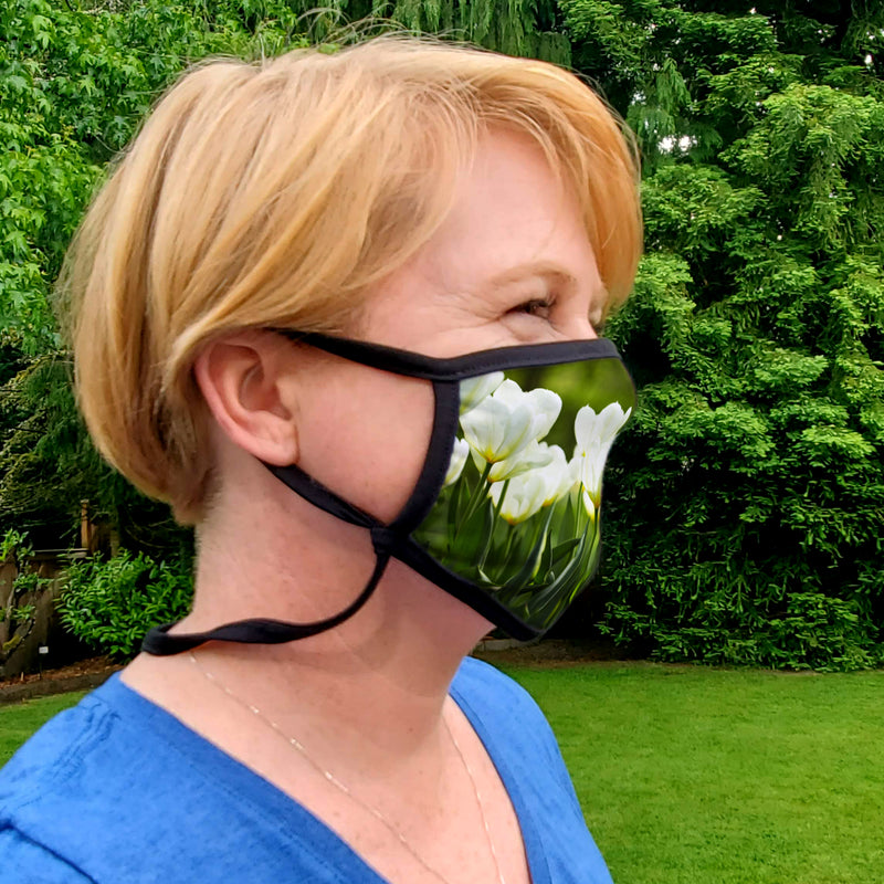 Buttonsmith White Tulips Adult XL Adjustable Face Mask with Filter Pocket - Made in the USA - Buttonsmith Inc.