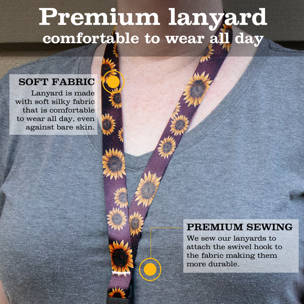 Buttonsmith Sunflower Breakaway Lanyard - with Buckle and Flat Ring - Based on Rebecca McGovern Art - Officially Licensed - Made in the USA