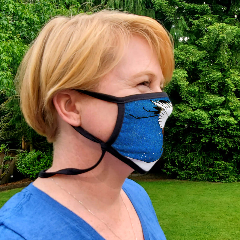 Buttonsmith Hiroshige Crane Adult XL Adjustable Face Mask with Filter Pocket - Made in the USA - Buttonsmith Inc.