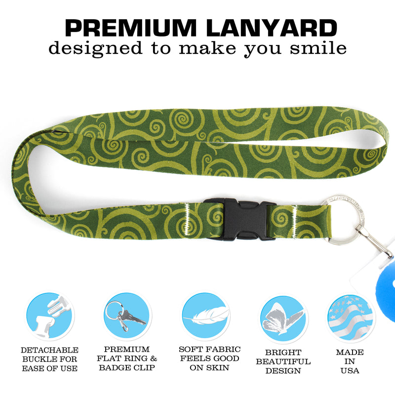 Buttonsmith Peridot Swirls Premium Lanyard - with Buckle and Flat Ring - Made in the USA - Buttonsmith Inc.