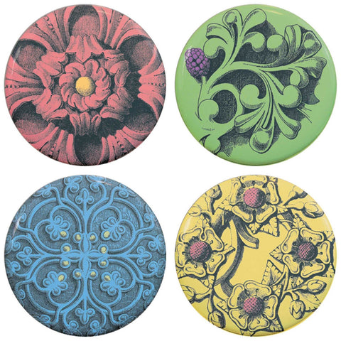 "Buttonsmith® 1.25"" Gothic Floral Refrigerator Magnets - Set of 4"