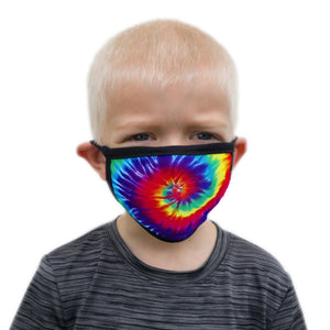 Buttonsmith Rainbow Tie Dye Child Face Mask with Filter Pocket - Made in the USA