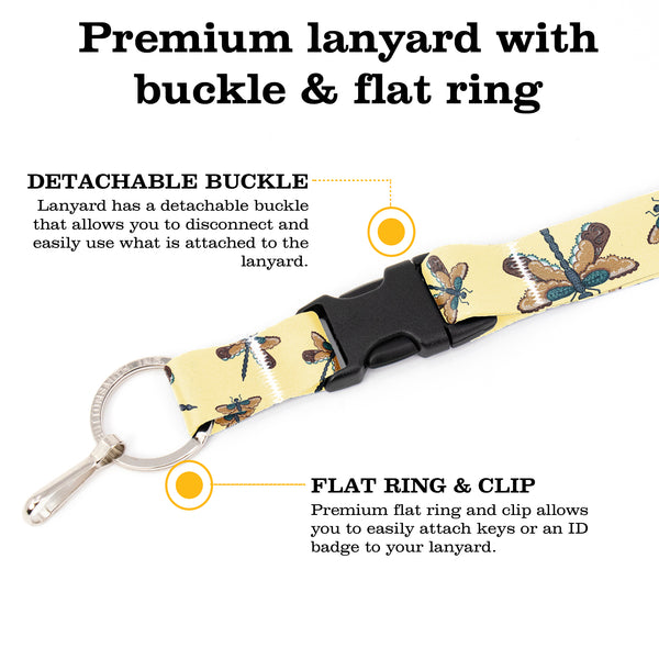 Buttonsmith Dragonflies Premium Lanyard - with Buckle and Flat Ring - Based on Rebecca McGovern Art - Officially Licensed - Made in the USA