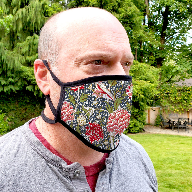 Buttonsmith William Morris Cray Youth Adjustable Face Mask with Filter Pocket - Made in the USA - Buttonsmith Inc.