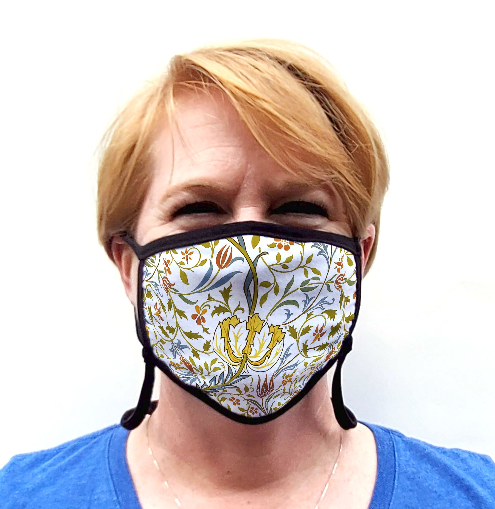 Buttonsmith William Morris Flora Adult Adjustable Face Mask with Filter Pocket - Made in the USA