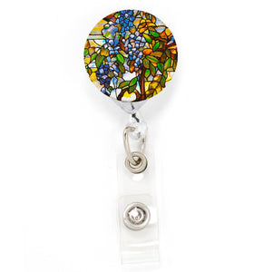 Buttonsmith Tiffany Wisteria Tinker Reel Retractable Badge Reel - Made in the USA