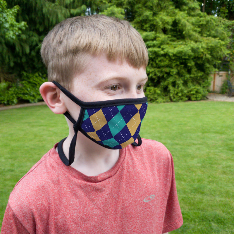 Buttonsmith Argyle Child Face Mask with Filter Pocket - Made in the USA - Buttonsmith Inc.