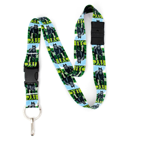 Buttonsmith Grey Horse Breakaway Lanyard - with Buckle and Flat Ring - Based on Rebecca McGovern Art - Officially Licensed - Made in the USA
