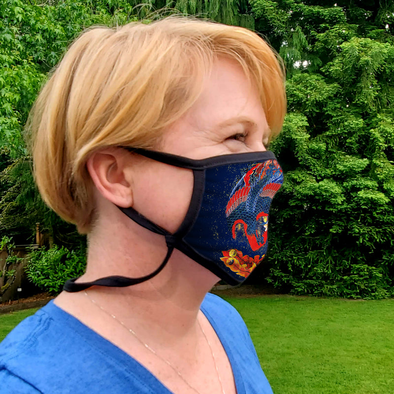 Buttonsmith Hokusai Phoenix Adult Adjustable Face Mask with Filter Pocket - Made in the USA - Buttonsmith Inc.