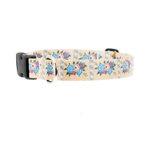 Buttonsmith McGovern Quilted Flowers Dog Collar - Made in the USA