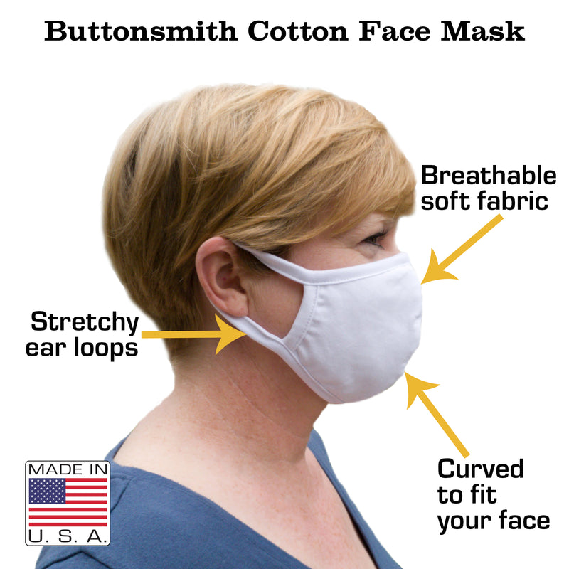 Buttonsmith White Tulips Child Face Mask with Filter Pocket - Made in the USA - Buttonsmith Inc.