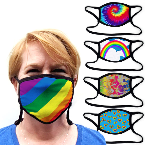 Buttonsmith Rainbow - Set of 5 Adult Adjustable Face Mask with Filter Pocket - Made in the USA